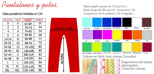 TALLAS pantalon modifica